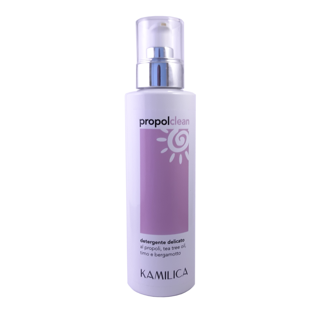 Propolclean gentle face and body cleanser with propolis, tea tree oil, thyme and bergamot.