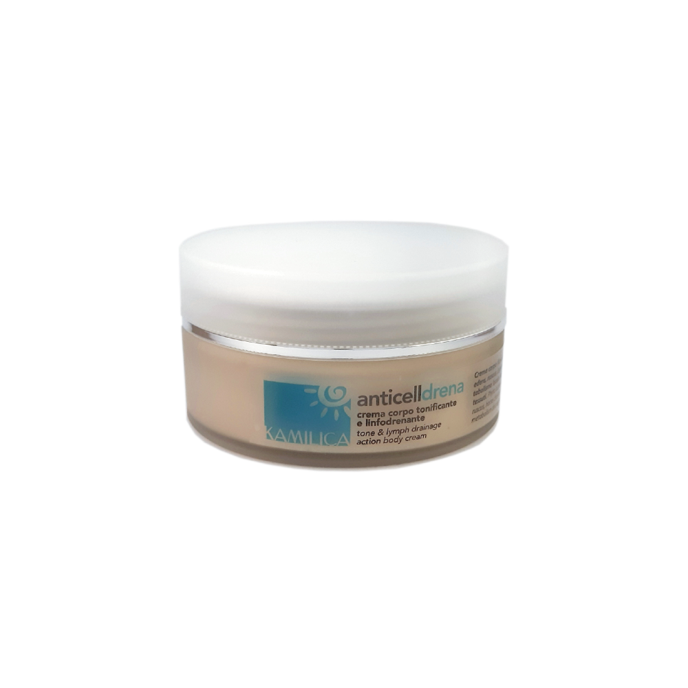 kamilica Anticell Drena anti-cellulite body cream, toning and lymphatic drainage action, with extracts of ivy, ruscus, centella and horse chestnut, cinnamon and mint essential oils.