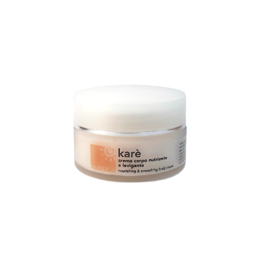 kamilica Karè smoothing body cream specific for hands and feet and dry skin with shea butter, almond oil and silk proteins.