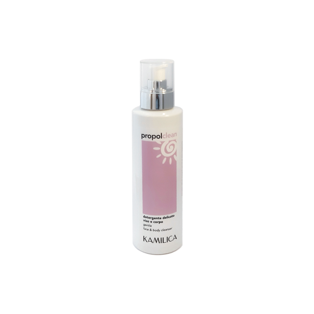 kamilica Propolclean gentle cleanser for face,body and intimate hygene with propolis, tea tree oil, thyme and bergamot.