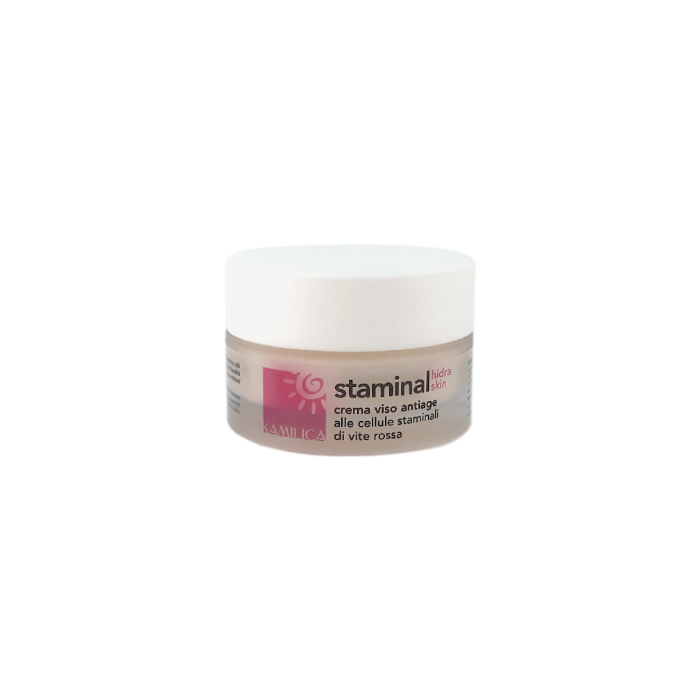 kamilica Staminal Hidraskin moisturizing nourishing anti-aging face cream with red vine stem cell, marine collagen, jojoba oil, wheat germ, ceramides.